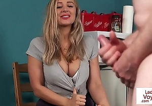 Big-busted british voyeur conducting supplicant to joi