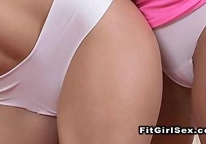 Fitness lesbos having oral-stimulation concerning gym