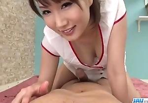 Appealing nurse mikuni maisaki caves for a tasty Hawkshaw