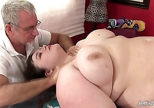 Hot fleshy sapphire delicate situation acquires a sexual congress rub-down