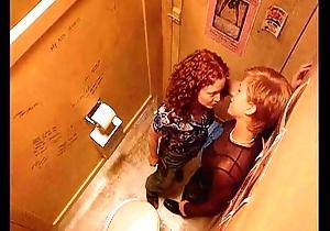 Bull dyke lovemaking up club toilet