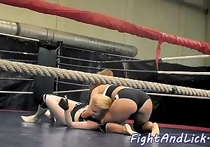 Neglected lesbos wrestling together with having enjoyment